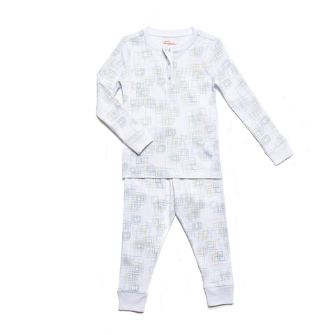 square geometric print childrens long sleeve pajama set