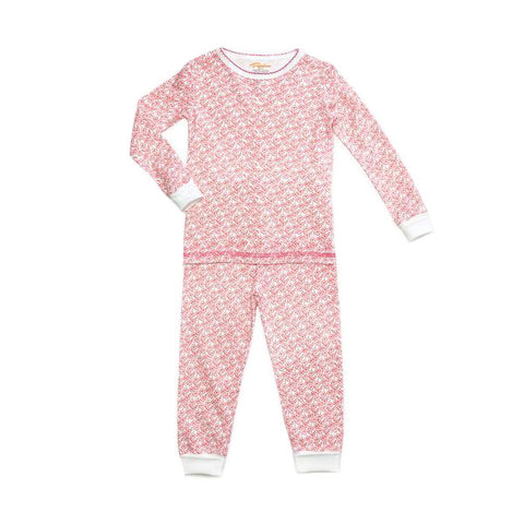 pink wildflower print girls long sleeve pajama set