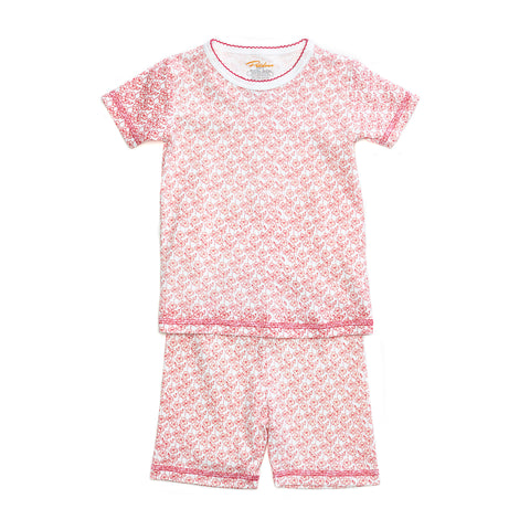 pink wildflower print girls short sleeve pajama set