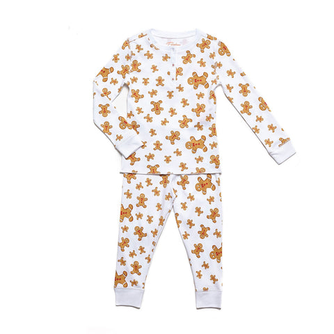 Gingerbread Men print childrens long sleeve holiday pajama set