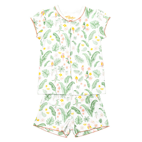 Hawaii girls Pajamas - Parrots and Hawaiian leaves - Petidoux