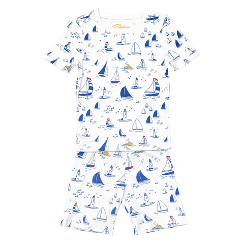 Sailboats Pajamas - Short sleeve Boys Summer Pajamas