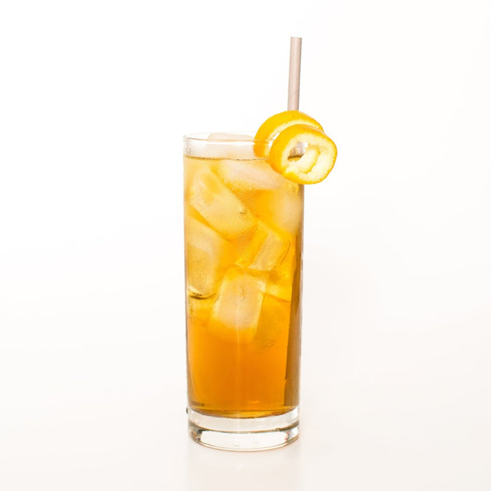 Orange Dreamsicle adaptogenic chamomile iced tea for sleep and relaxation.