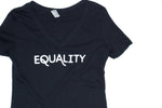 Women's V-Neck T-shirt-Cursive-Equality-Black-