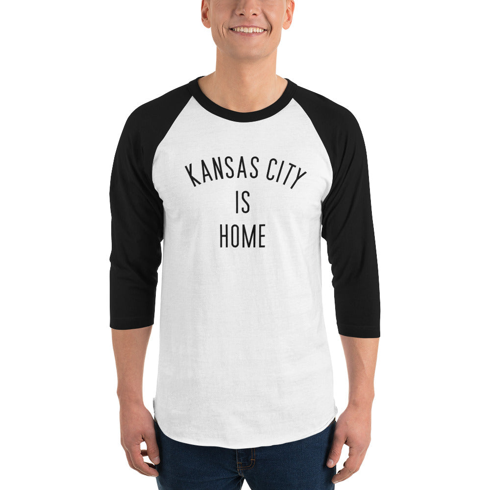 Kansas City is Home 3/4 sleeve raglan shirt