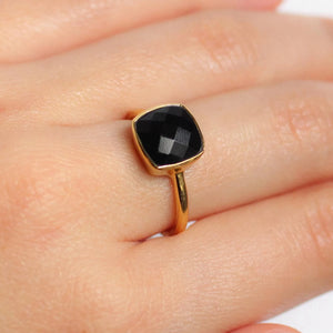 Black Onyx Gemstone Gold Ring - Nikki Smith Designs