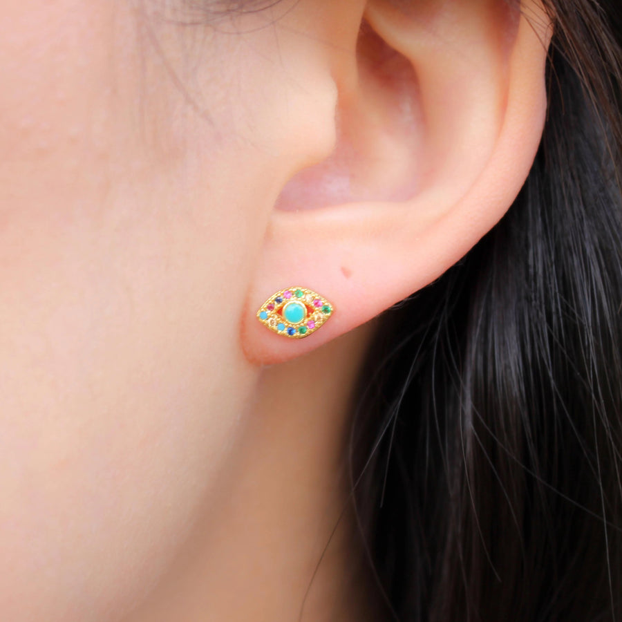 Rainbow Evil Eye Studs - Nikki Smith Designs