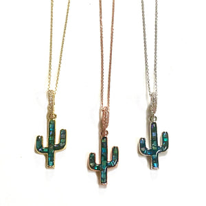 Blue Mosaic Cactus Necklace - Nikki Smith Designs