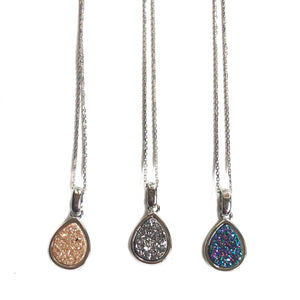 Druzy Drop Short Necklace Silver - Nikki Smith Designs