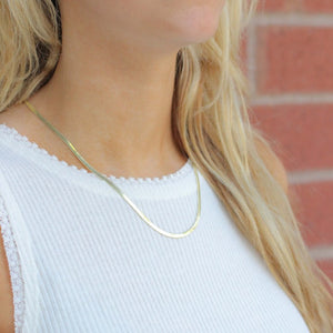 Skinny Gold Herringbone Necklace - Nikki Smith Designs