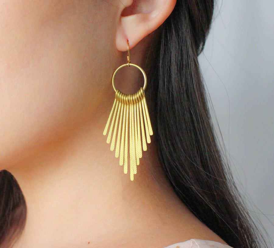 Golden Metal Fringe Earrings - Nikki Smith Designs