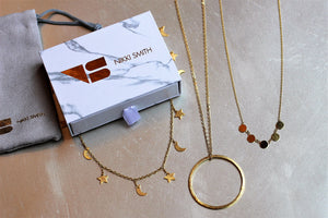 gold christmas gift combo-star and moon choker with a long circle drop necklace and a short disc necklace