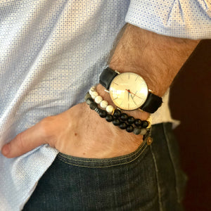 Javelin Men's Beaded Stone Bracelet - Nikki Smith Designs