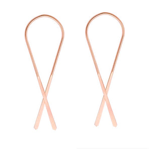 rose gold ribbon earrings
