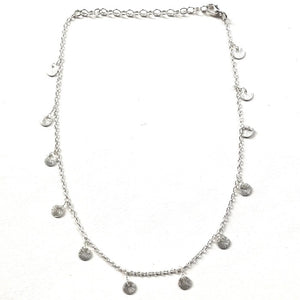 silver circle charm choker necklace