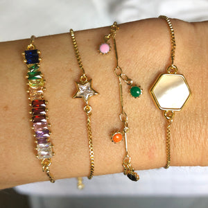 colorful gold sliding bracelets
