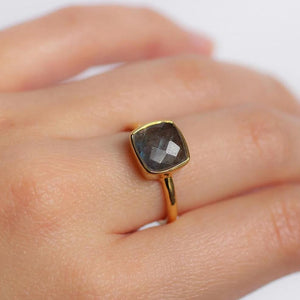 Labradorite Gemstone Gold Ring - Nikki Smith Designs
