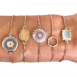 Layla Rose Gold Adjustable Bracelets - Nikki Smith Designs