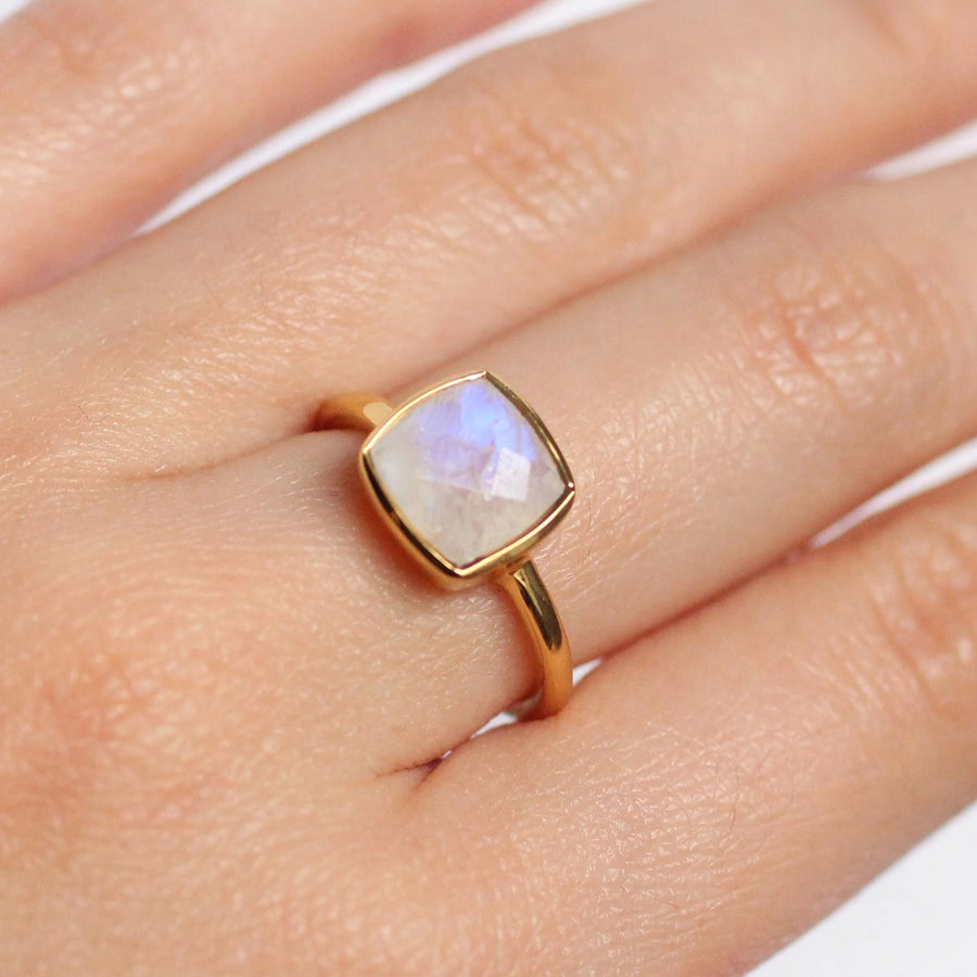 Moon Gemstone Gold Ring - Nikki Smith Designs