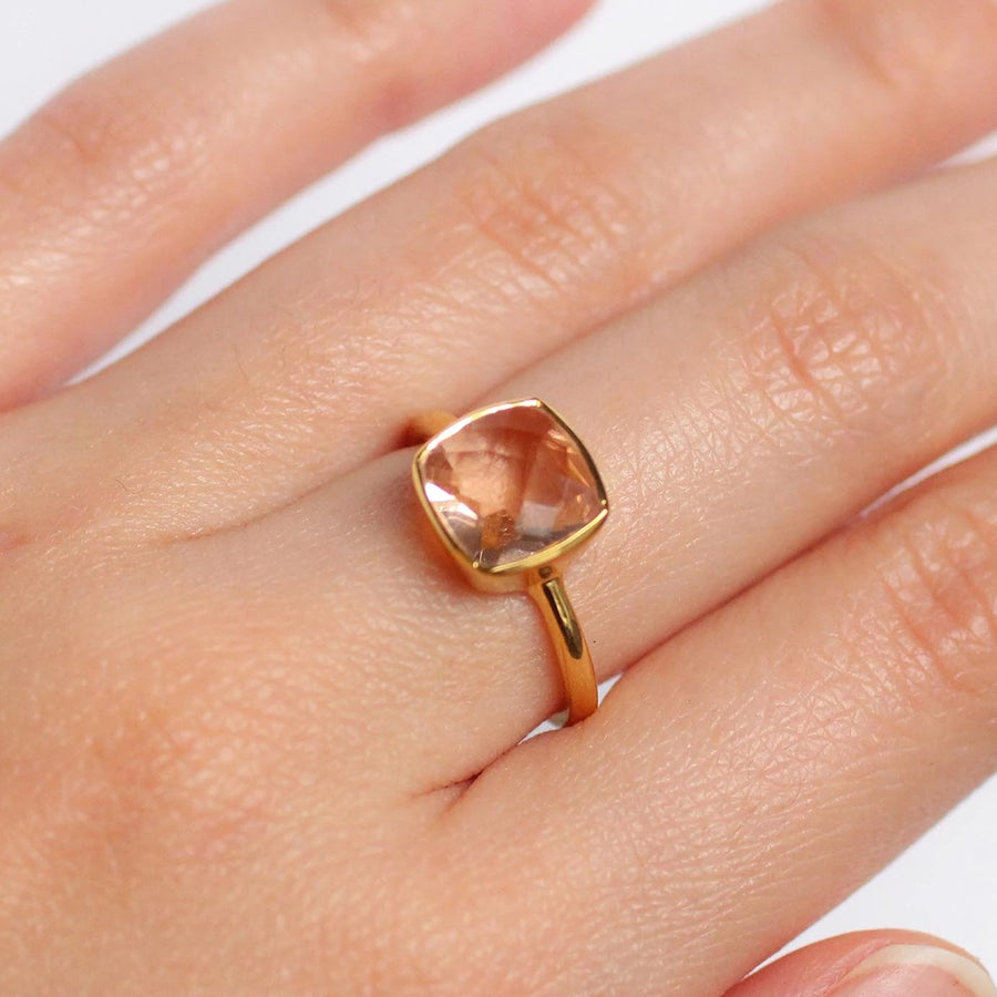 Morganite Gemstone Gold Ring