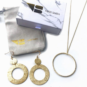 Classic Necklace Drop Earring Set- Gold - Nikki Smith Designs