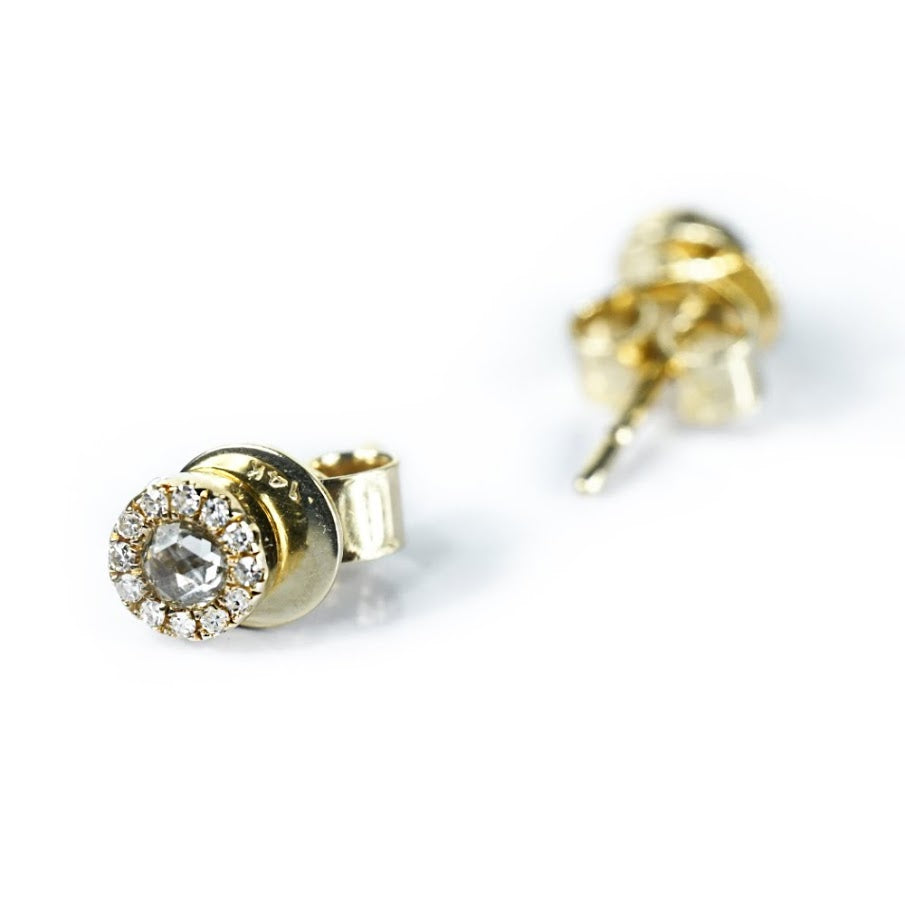 Diamond Halo Stud Earrings - Nikki Smith Designs