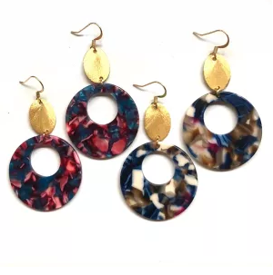 Bailey Tortoiseshell Hoops - Nikki Smith Designs