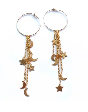 Moon and Star Hoop Earrings - Nikki Smith Designs