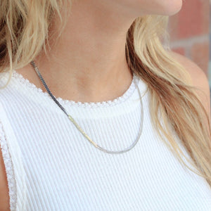 Skinny Silver Herringbone Necklace - Nikki Smith Designs