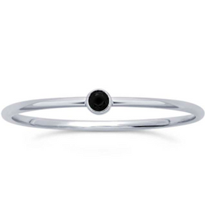 Sterling Silver stackable ring with a black small gem