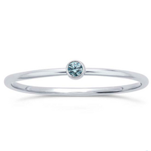Blue Topaz Gem Stackable Sterling Ring - Nikki Smith Designs