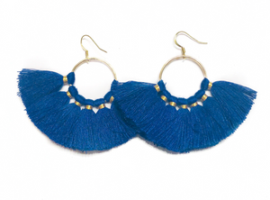 Cobalt Fan Tassels - Nikki Smith Designs