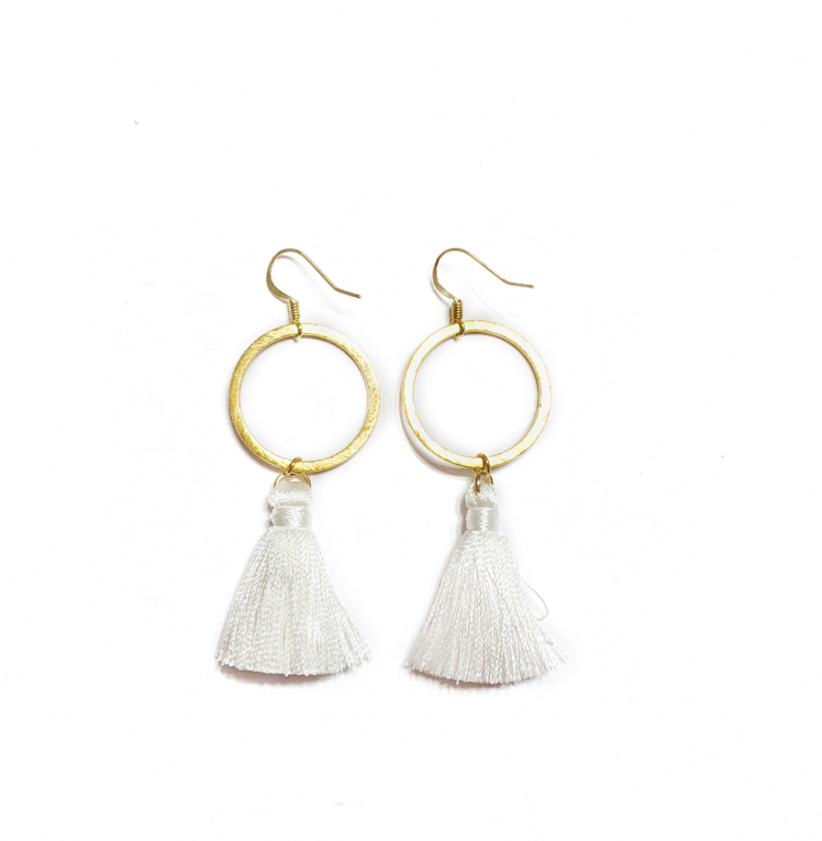 White Hoop Tassel Earrings