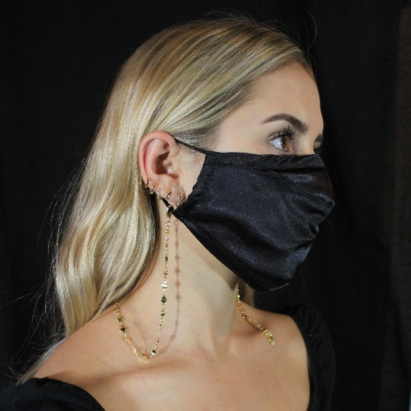 Face Mask with Mask Chain- Black Silk