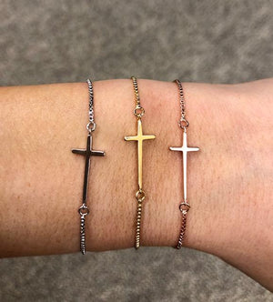 Cross Lariat Bracelet Set- Gold, Rose or Silver - Nikki Smith Designs