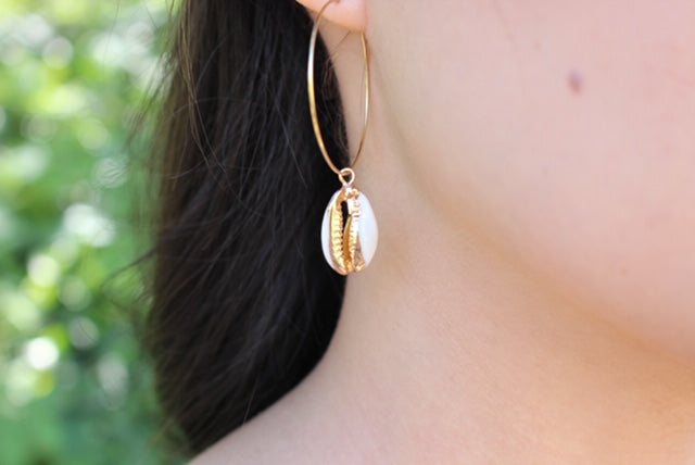 Cowrie Shell Gold Hoop Earrings - Nikki Smith Designs