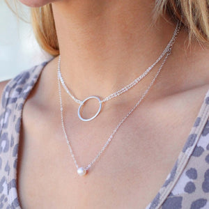 Circle Double Chain Necklace- Sterling - Nikki Smith Designs