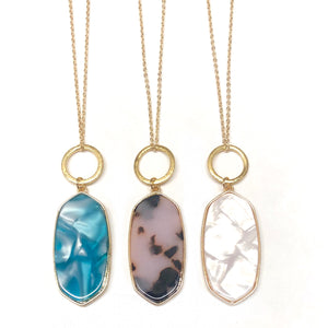 Emma Circle Drop Long Necklace - Nikki Smith Designs