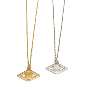 golden and silver eye charm short necklaces
