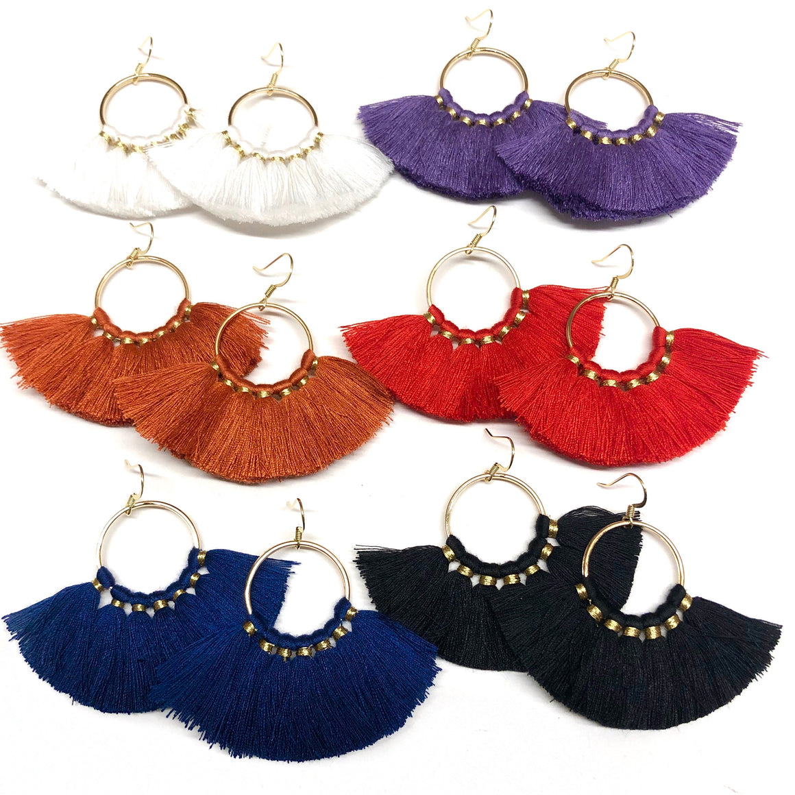 college gameday color tassel earrings