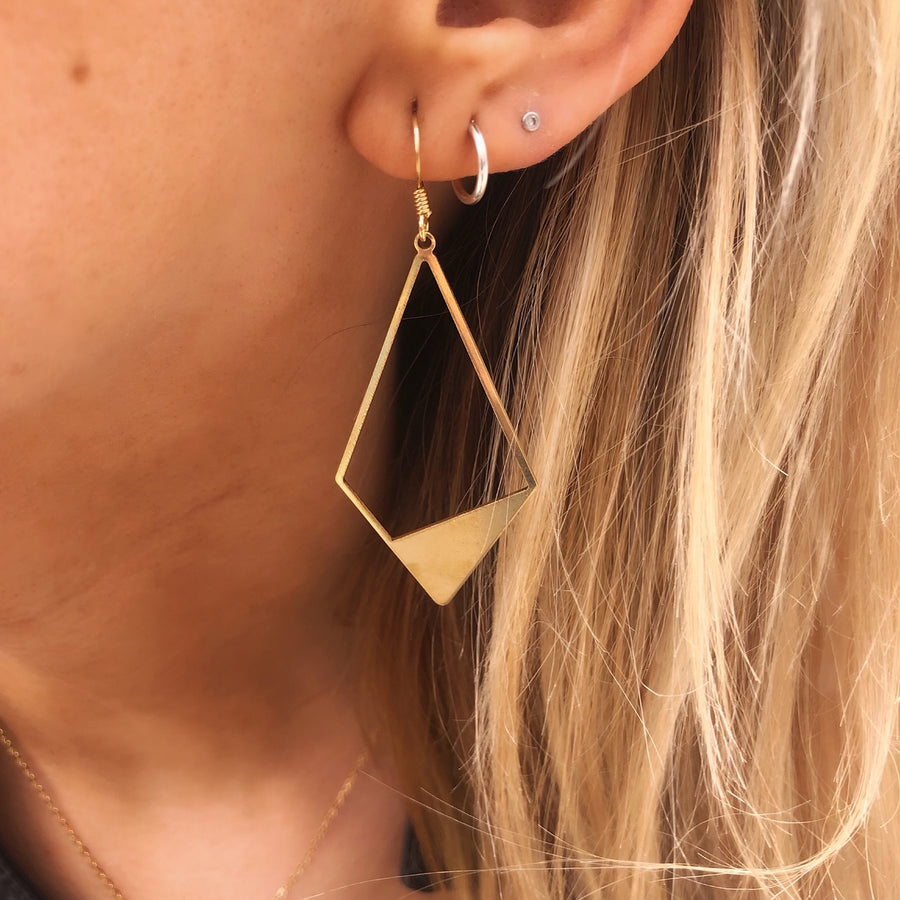 Golden Kite Metal Earrings