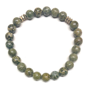 Men's Beaded Stone Bracelet-Grizzly - Nikki Smith Designs