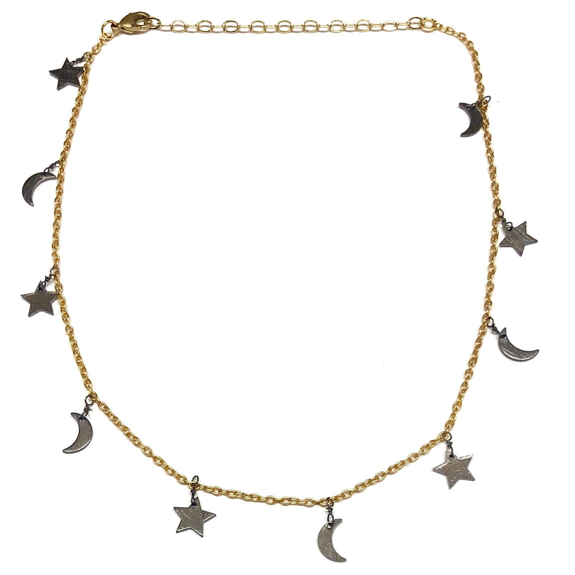Star and Moon gold choker necklace