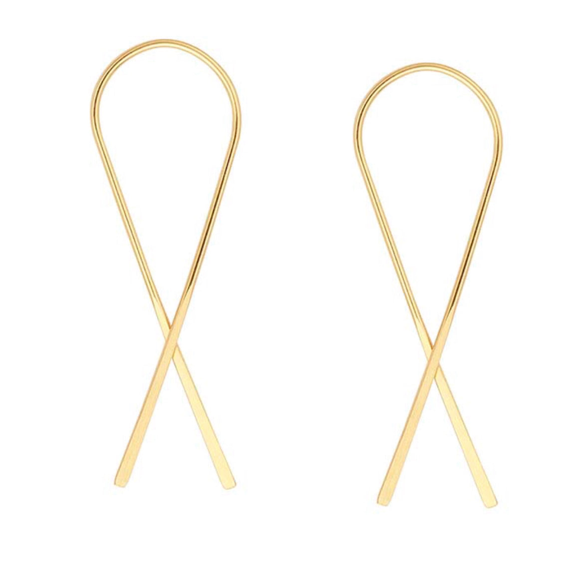 Ribbon V Earrings Gold Plated