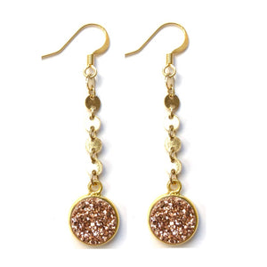 Rose Gold Confetti Drop Earrings