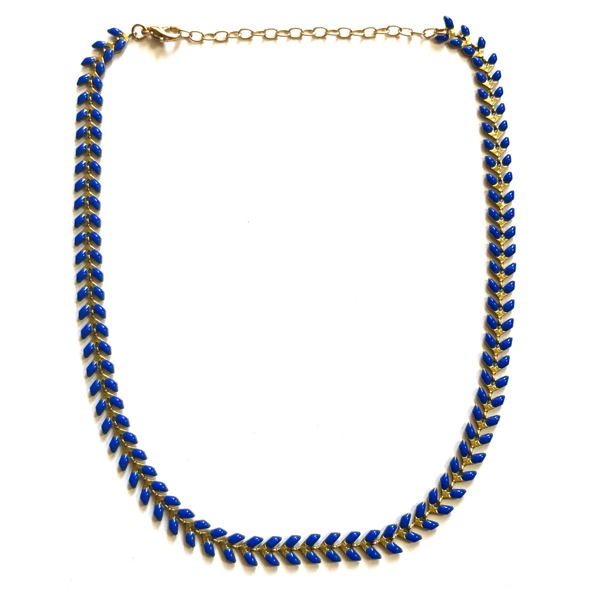 Matte V Link Choker Cobalt - Nikki Smith Designs