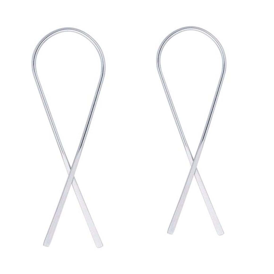 Ribbon V Earrings Sterling