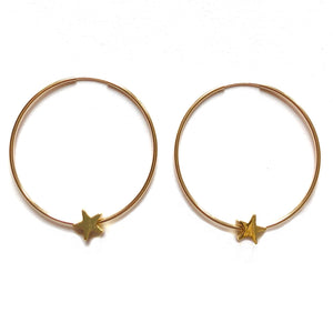 Gold Filled Hoop Earrings with Stars - Nikki Smith Designs