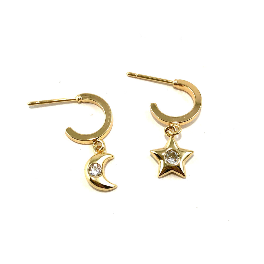 Star & Moon Golden Hoop Huggies