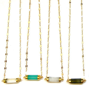 Golden Stone Bar Necklaces - Nikki Smith Designs